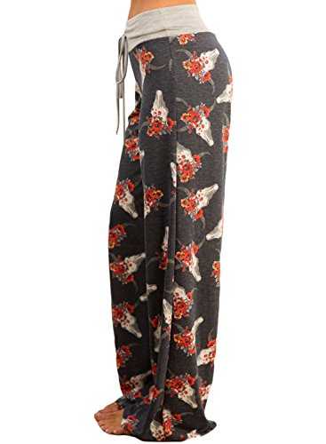 Aleumdr - Pantalón - Floral - para mujer gris oscuro