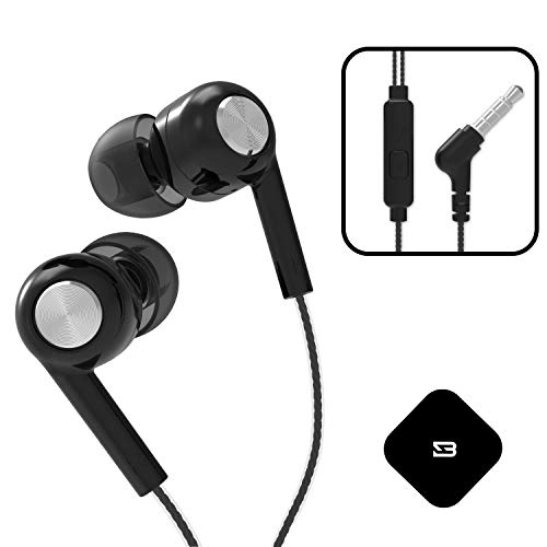 BYZ Earphones with Mic, Premium Quality Earbuds Compatible with Phone 6s, 6, 6 Plus, 5s, 5, Pad Pro, Pod Touch, Android Phones, Wired Earbuds with Microphone SE378-BLACK