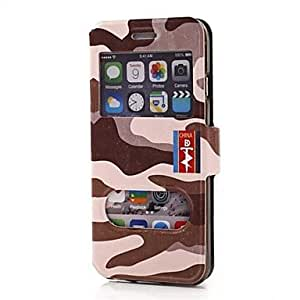ZXSPACE Camouflage Pattern Dual Double View Window PU Full Body Case for iPhone 6