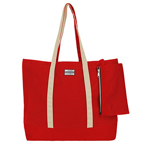 VanGoddy Isling, Two-Tone Scarlet Red / Vanilla Tan Carry-All Canvas Tote Bag (Tone Zippered Bag Tote)