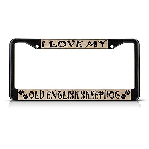 Sheepdog License Plate Frame - Metal License Plate Frame Solid Insert Old English Sheepdog Dog Pet Car Auto Tag Holder - Black 2 Holes, One Frame