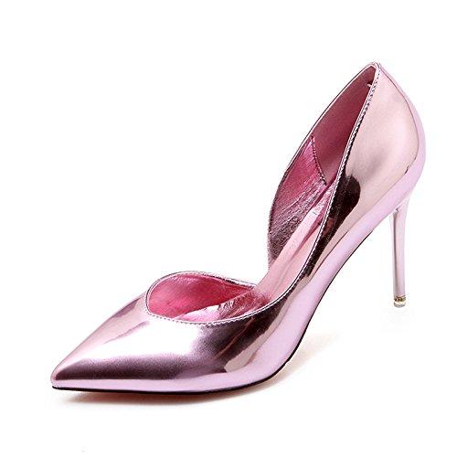 Xue Qiqi high-heel Schuhe Tipp feine mit Licht - bemalte Leder wilden Feen Schuhe silber Schuh 35 Rosa 9 cm