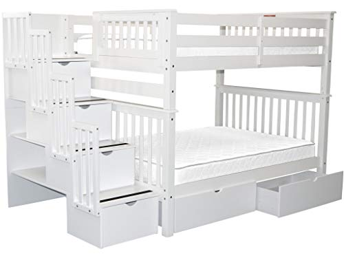 Bedz King Stairway Bunk Beds Full over Full with 4 Drawers in the Steps and 2 Under Bed Drawers White