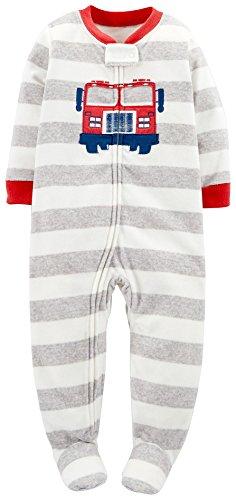 Carter's Striped Fleece Footie (Baby) - Firetrucks-24 Months (Pajama Fleece Striped)