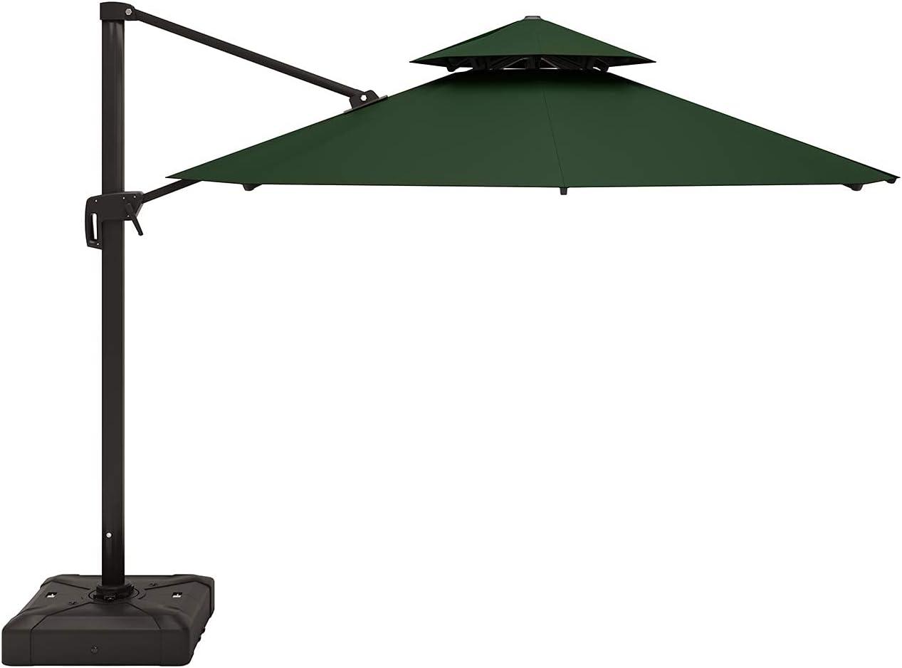 MORITIA 10 Feet Outdoor Patio Umbrella Round Deluxe Aluminum Offset Hanging Umbrellas with Double Top for Market Garden Deck Backyard Pool 360° Rotation & 5 Grades of Tilting System (Dark Green)