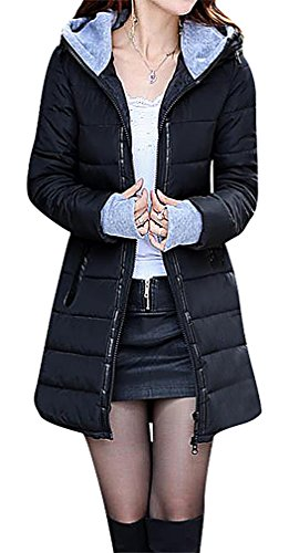 US&R Women 1 Color Zip Up Quilted Long Down Jacket With Fingerless Gloves, Black XXS,Manufacturer(S)