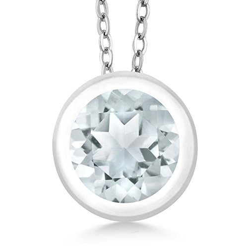 Gem Stone King 0.75 Ct Round Sky Blue Aquamarine 925 Sterling Silver Pendant With Chain