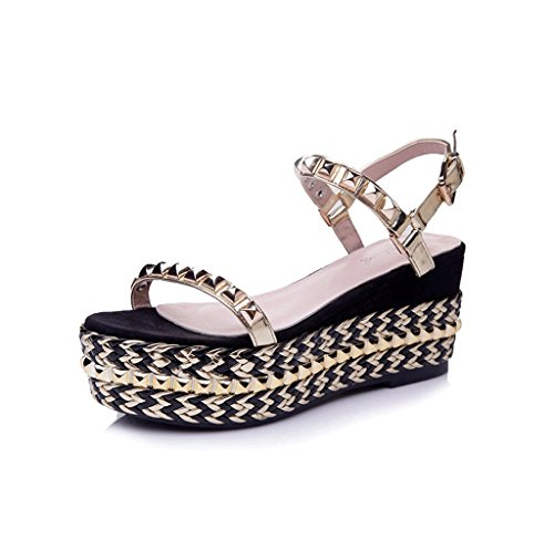 Dream Summer New Fashion Shoes Rivets Wedges Sandals Thick Sandals Braided Golden Shoes Gold