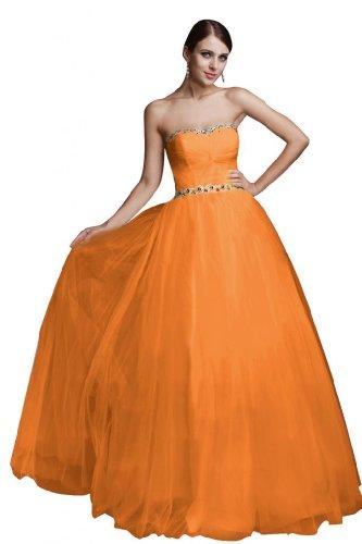 A Elegante da strass Dollie maniche sera con lunghe sera Sunvary Line vestito vestito Orange con Organza wSPYwxrq