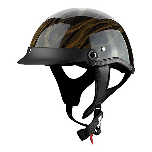 Half Shell Motorcycle Helmet DOT Approved Gloss Black with Flames (Dot Approved Gloss)