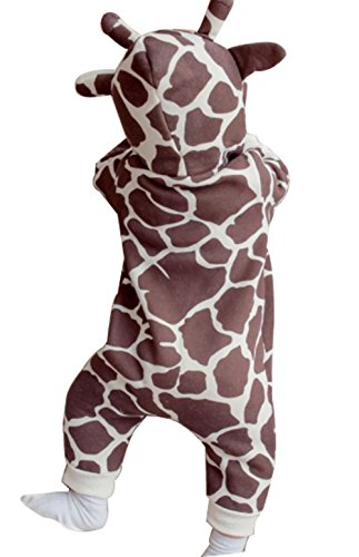 Baby Boys Girls Cartoon Giraffe Print Hooded Romper Warm Thick Onesies Jumpsuit