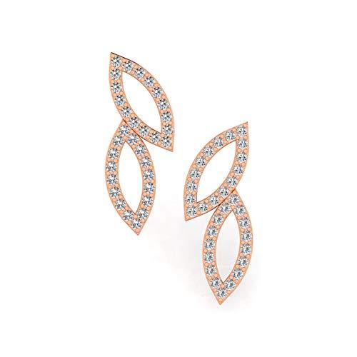 ASHNE JEWELS IGI Certified 0.25 Carat Round-Shape Natural Diamond (G-H Color, I1-I2 Clarity) 14K Rose Gold Stud Earrings For Women