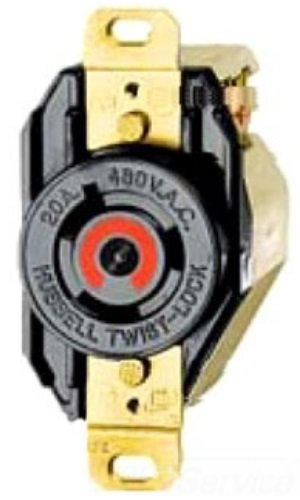 Hubbell Wiring Systems HBL2340 Twist-Lock Single Receptacle, 20 Amp, 480VAC, 2 Pole, 3 Wire, Black