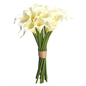 Easin Calla Lily Bridal Bouquet Wedding Flowers 20 PCS a Set Artificial Flowers Home Decor Real Touch 47