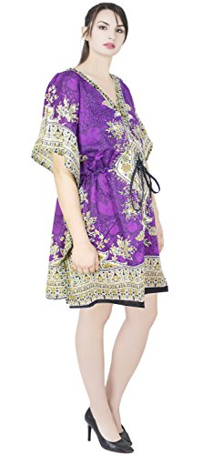 SKAVIJ Kaftan Vestido para Mujer Robe Beach Túnica Vestido Cubrir Caftan Camisón Viola