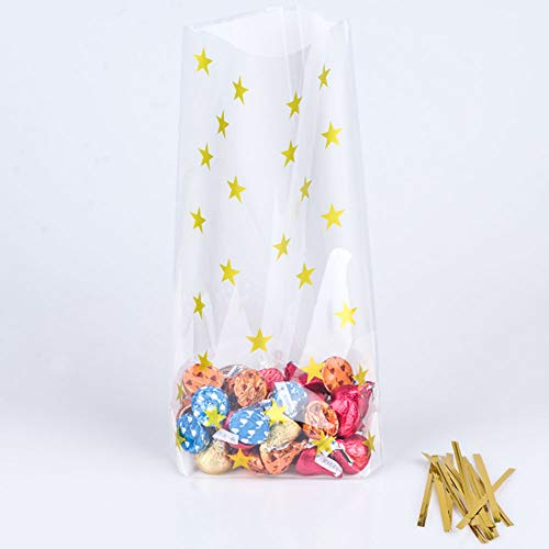 YESON Gold Star Clear Cello Bags Candy Plastic Party Favor cellophane Treat Bags,Pack of 100
