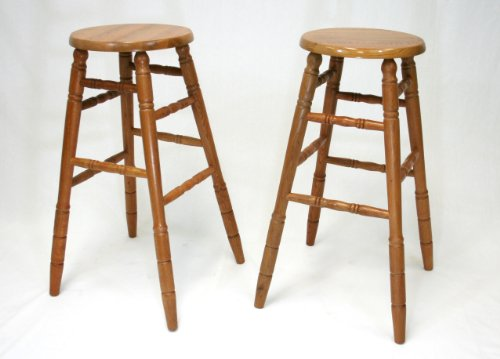 eHemco 29 Solid Oak Bar Stools in Oak Finish,set of 2,fully Assembled