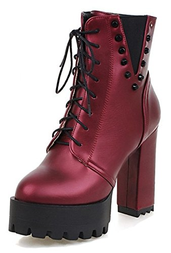 Aisun Wine Block Boots Lace Sole Thick Ankle Short Toe Zip High Platform Inside Womens Up Studded Heel Red Booties Round With Zipper ApwYRArq