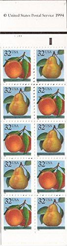 Stamp Booklet Pane (US Stamp - 1995 Peaches & Pears - Booklet Pane of 20 Stamps #BK178)