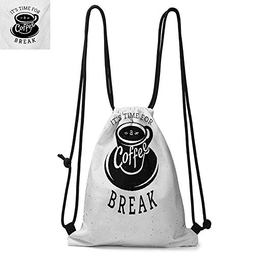 QuotePortable drawstring backpackIt is Time For a Coffee Break with Cup of Expresso Icon on Scattered BackgroundConvenient choice for daily activities W17.3 x L13.4 Inch Black and ()