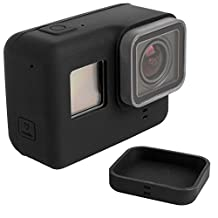 Protective Case for GoPro Hero 5 Sport Camera with Lens Cap, FineGood Soft Silicone Covers for Hero5 Action Camera and Lens- Black
