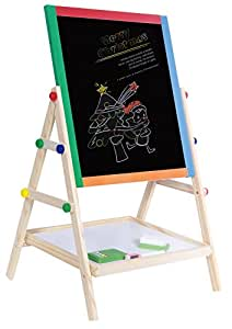 YARMOSHI My First Wooden Drawing Board Easel Double Sided Adjustable | Chalk Blackboard & White Dry Erase Surface, Magnetic Sponge, Marker Pens, Chalks & Bottom Tray | Learning Play for Toddlers!