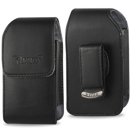 Vertical Leather Case for Alcatel One Touch Retro, Fling, Speakeasy Flip Phone, with Swivel Belt Clip and Magnetic Closure.