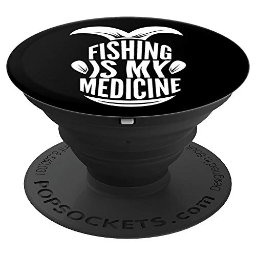 Fishing Is My Medicine Funny Fisher Dad Husband Gift PopSockets Grip and Stand for Phones and Tablets