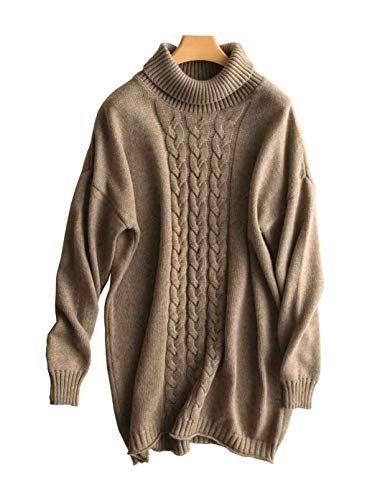 (Women's Sweater Pullover Turtleneck Cashmere Warm Thicken Fluffy Floral Knitted Oversized Long Sweaters Tunic Camel (C-Camel, One Size))