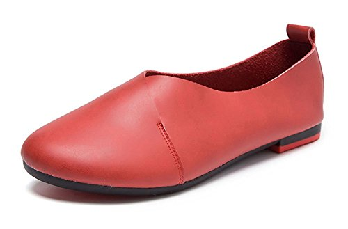 Red Leather Flats Shoes - 9