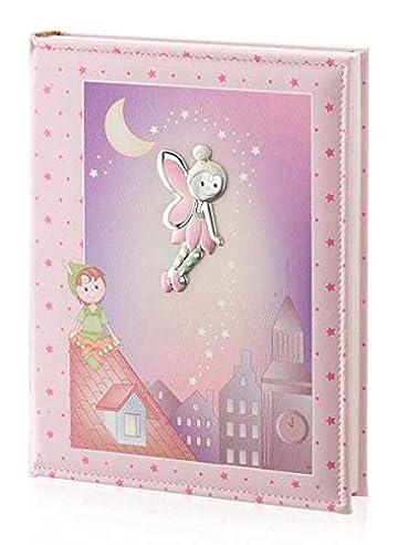 Fotoalbum und Tagebuch – Baby Collection – Linie Märchen – Pink – cm 25 x 30 BI Laminat Silber Kunstleder made in