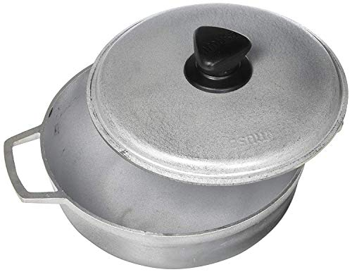 IMUSA USA Traditional Aluminum Colombian Natural Caldero (Dutch Oven) 2.6-Quart, Silver