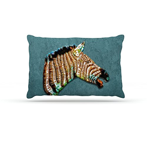 Kess InHouse Ancello Laughing Zebra  Teal Dog Bed, 30 by 40-Inch