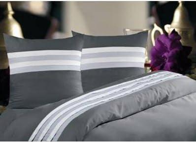 Salom/é Prestige Housse de Couette Pliss/ée Tricolore Blanc Turquoise Gris Perle Satin de coto