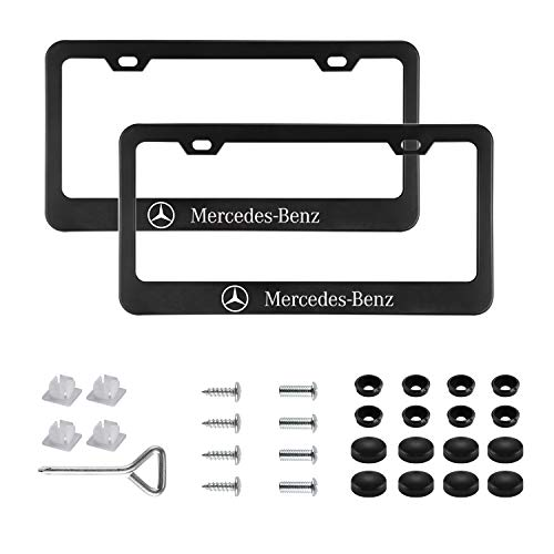 Sparkle-um 2pcs Newest Matte Aluminum Alloy License Plate Frame,with Screw Caps Cover Set Suit,Applicable to US Standard car License Frame,for Mercedes Benz(Black) ()