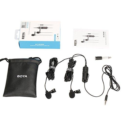 DSLR Studyset BOYA BY-M1DM Nikon Canon Microfono lavalier omnidirezionale da 6 m con Clip per Risvolto per iPhone