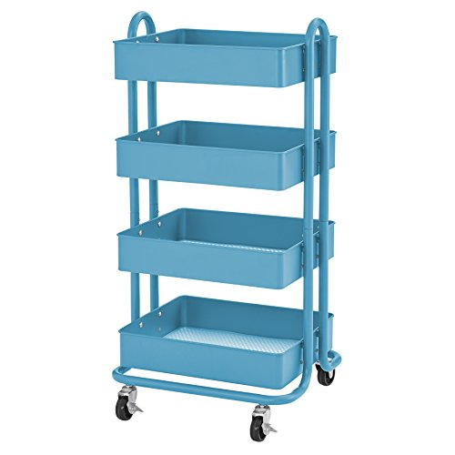 Art Furniture - ECR4Kids 4-Tier Metal Rolling Utility Cart - Heavy Duty Mobile Storage Organizer, Turquoise
