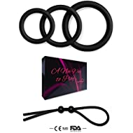Silicone Cockring Set Male Sex Toys - 3 Cock Rings 1 Adjustable Penis Tie - Erection Ring – Penis Ring Toy for Sex – Cock Ring Sex Toys for Men - Male Cockrings Rings Pleasure Enhancing Sex Ring Set