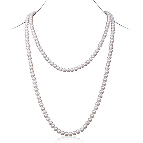 JYX Round Natural White 8-9mm Freshwater Pearl Necklace