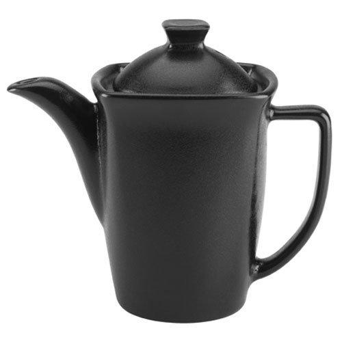 Hall China 4770AFCA Foundry 16 oz. Black Ceramic Beverage Server with Lid - 12/Case