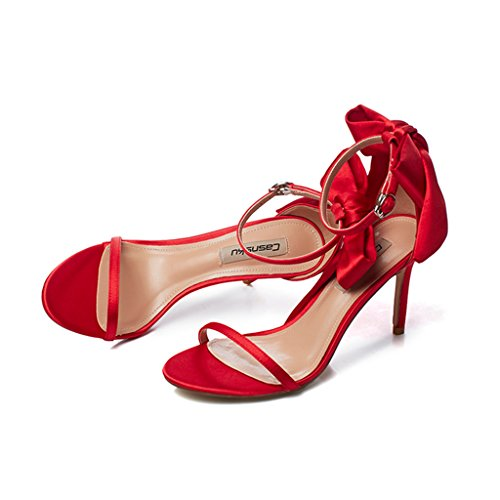 with high shoes 8 Color sexy shoes student bows 36 Women sandals 5cm fine heels Red Size casual Champagne zAwqPA5