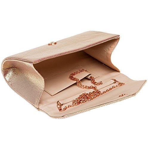 Envelope Bag Rose Clutch Rhinestone Gold Ladies CASPAR Evening with Elegant TA423 Glitter zTvvEWcpBY
