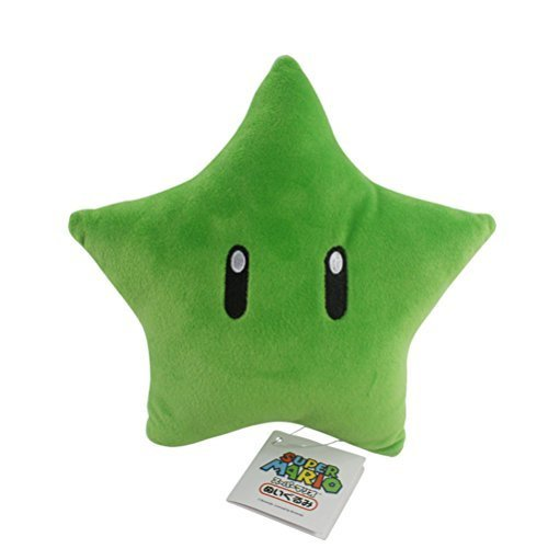 (Fashion Colors Super Mario Bros Plush Green Star Soft Stuffed Plush Toy Anime Collection Birthday Gifts 9.1 Inch/23cm Tall)