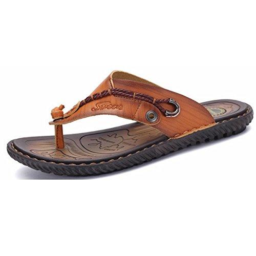 Pinuo Menns Skinn Sandaler 2016 Sommeren Koreanske Versjonen Av Tilfeldige  Skinn Sandaler Utendørs Tøfler Lys Brun
