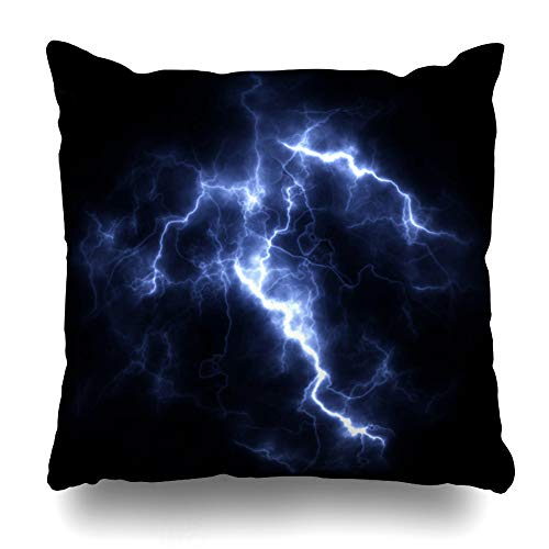 (Ahawoso Throw Pillow Cover Bolt Blue Effect Electric Storm Bright Flash Lightning Voltage Closeup Nature Glow Shock Strike Thunder Sky Pillowcase Square 20 x 20 Inches Home Decor Cushion Case)