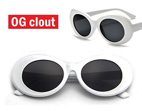 THE ORIGINAL Clout Goggles - #1 Famous White Oval Retro Sunglasses - - White Sunglasses Oval