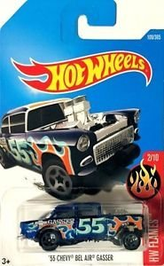 55 Chevy Body (Hot Wheels 2017 HW Flames '55 Chevy Bel Air Gasser 109/365, Blue)
