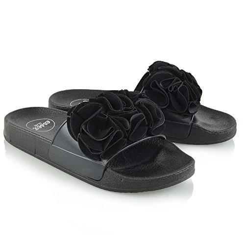 ESSEX GLAM Womens Slide Sandals Flat Casual Ruffle Flip Flops Black MHCaGI0