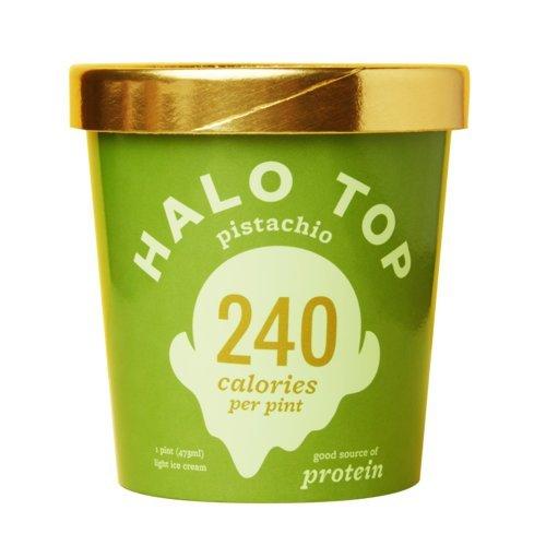 Halo Top Ice Cream Pint, Pistachio, 16 Ounce (Pack of 8) (Ice Cream Top)