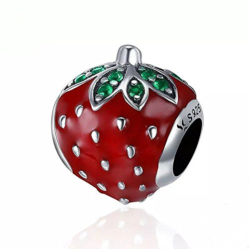 Strawberry Charm 925 Sterling Silver Fruits Charm Beads for Fashion Charms Bracelet & Necklace